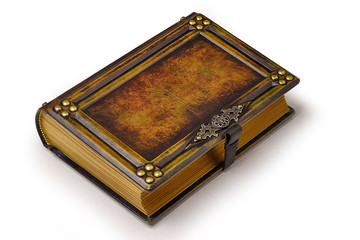 Aged large leather book with carved frame, metal pins in the corners, decoration as a door handle and gilded paper edges.