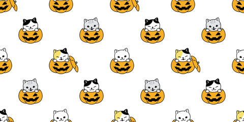 cat seamless pattern vector Halloween pumpkin kitten calico scarf isolated tile background repeat wallpaper cartoon illustration doodle design