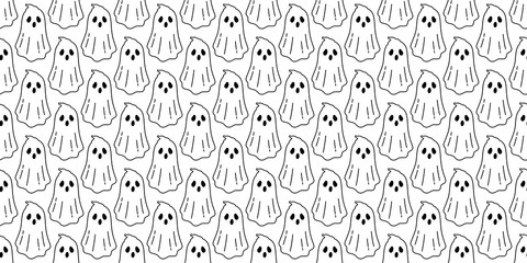 Ghost seamless pattern vector Halloween spooky devil evil scarf isolated repeat wallpaper tile background cartoon illustration gift wrap doodle white design Wall mural