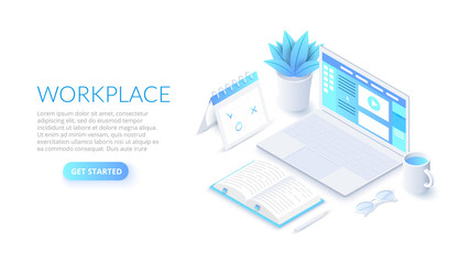 Isometric workplace illustration with laptop. Landing page template