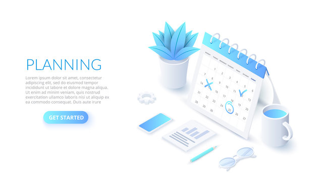 Isometric planning schedule and calendar concept. Time management concept. Illustration for web banner layout template.