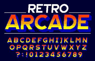 Retro Arcade alphabet font. 3D pixel letters and numbers. Retro 80s video game typescript.