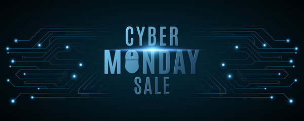 Cyber Monday sale banner. Hi-tech background from a computer circuit board. Computer mouse. Glowing neon blue connecting lines with lights. Vector illustration