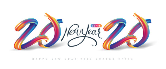 Fototapete - 2020  New Year calligraphy with colorful brushstroke oil or acrylic paint design element for greeting card, flyers, leaflets, postcards and posters. Vector illustration.