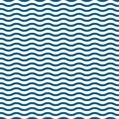 Wall Mural - blue with white seamless waves pattern vector illustration