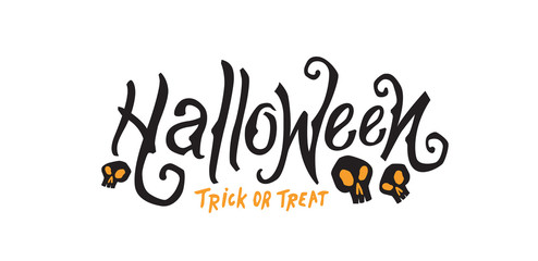 Happy Halloween Text Banner Vector illustration . Trick or treat.