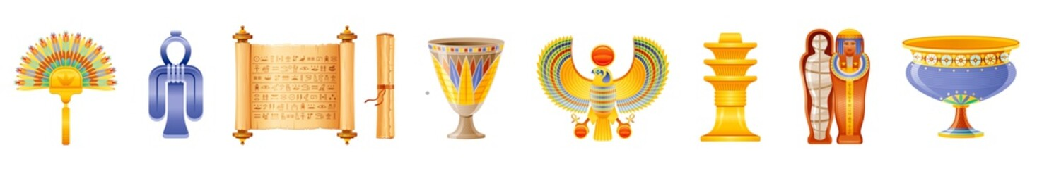 Ancient Egyptian art icon set. God, goddess, pharaoh symbol amulet. Fan, Isis tyet knot, papyrus scroll, cup, falcon, djed, queen mummy sarcophagus, vase. 3d vector illustration isolated background