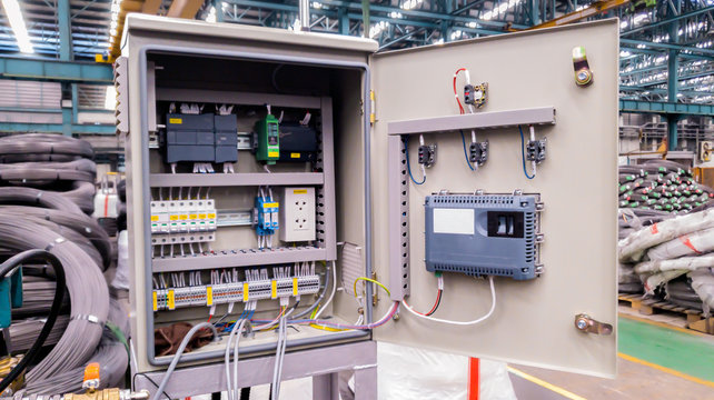 Power electricity control panel on factory site, Electrical switch cabinet, Main substation with breaker to control automatic system of machine