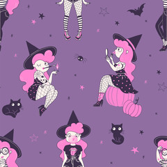 Pinup witch hand drawn vector seamless pattern. Sexy witchy girl smoking, doing makeup, chewing gum on dark background. Black cat, halloween costume party wrapping paper, wallpaper textile design