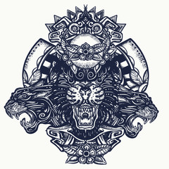 Three angry black panthers. Mayan tattoo. Wild cats queens in jungle. Esoteric totem. Mesoamerican mexican art