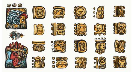 Mayan alphabet. Ancient mexican mesoamerican glyphs, hieroglyphics. Maya civilization collection. Old school tattoo style