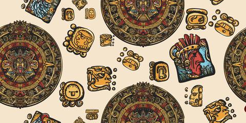 Aztec sun stone and mayan glyphs seamless pattern. Ancient Maya Civilization. Mexican mesoamerican culture