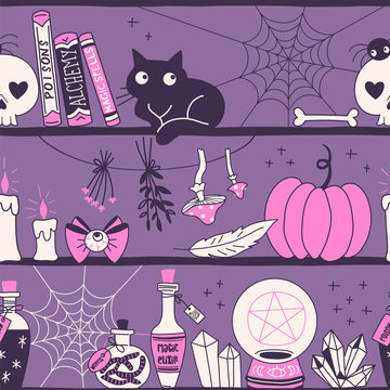 Witchy stuff hand drawn vector seamless pattern. Magic elixir, crystal ball, mushroom, black cat, pumpkin, plants on dark background. Alchemy and witchery wrapping paper, wallpaper textile design