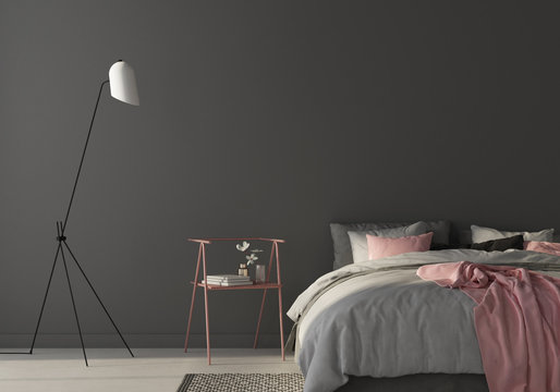 Bedroom with large gray bed and pink chair. 3d render
