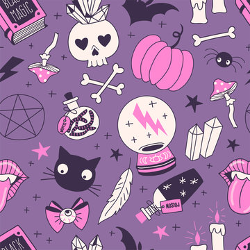 Black magic hand drawn vector seamless pattern. Crystal ball, bottles with poison, worms, skull, black cat on dark background. Witching stuff wrapping paper, wallpaper modern textile design