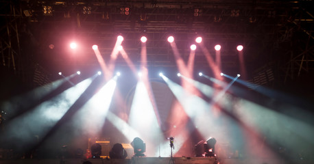 lights at stage or concert show. night party