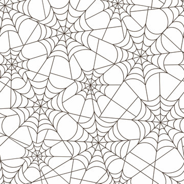 Cobweb design monochrome seamless pattern. Spiderweb texture. Insect tangled thread white background and black lines. Halloween decorative textile, wallpaper, wrapping paper vector design