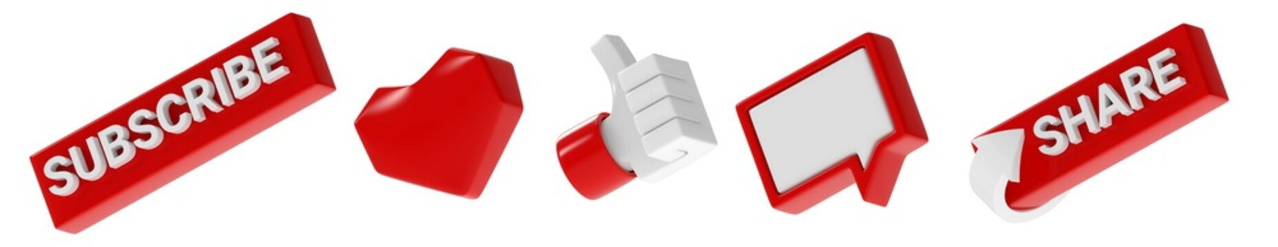 three-dimensional subscribe like thumb up hand comment share icons set isolated on white background