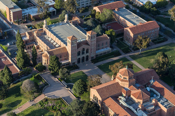 Afternoon aerial view of historic Royce Hall on the UCLA campus near Westwood on April 18, 2018 in Los Angeles, California, USA