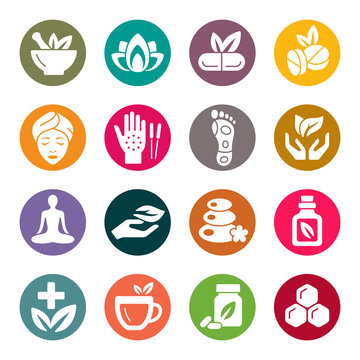 Naturopathy colourful vector icons