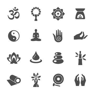 Meditation yoga retreat vector icons