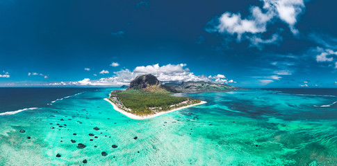 Aerial view of Le morne Brabant in Mauriutius, panoramic view on island.