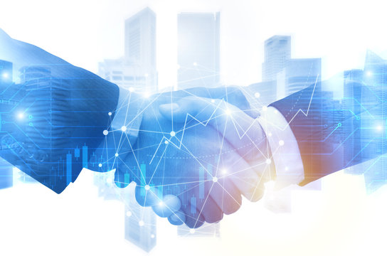 business man shaking hand with graph chart of stock market investment trading for Forex trading graphic diagram on cityscape background, digital technology, internet communication, partnership concept