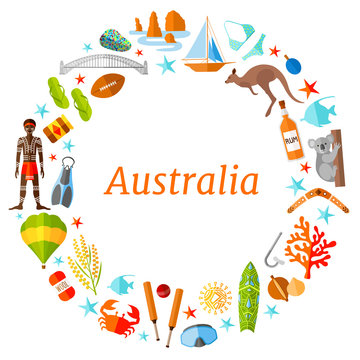 A wreath of famous australian symbols. Vector round frame with place for text. Template for a tourist theme. Border travel to Australia.