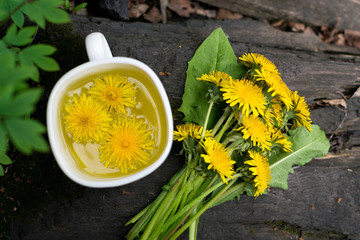 Dandelion flower tea infusion in white cup close up