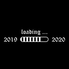 progress bar new year 2020 is coming vector on black background. White loading status bar.