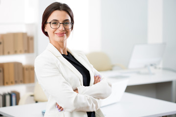 Portrait of a smiling young attractive business woman