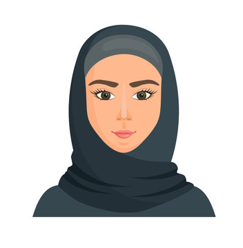 Muslim woman in hedgehog. Portrait of a young arab girl in traditional dress. Vector avatar in cartoon style. Islam with a veil on the head.