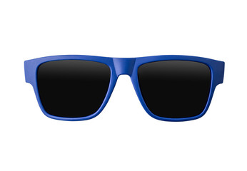 Blue sunglasses isolated on white background Wall mural