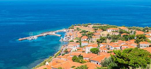 Fotomurales - Panoramic view of Molyvos or Mithymna Town and Harbor, Lesbos, Greece.