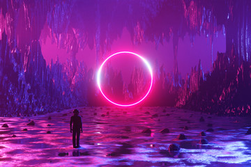 Fotobehang Snoeien A man, an astronaut, stands on the surface of an alien planet and looks at a circle of neon. Silhouette against the backdrop of a fantastic landscape. 3d rendering.
