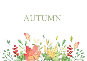 Watercolor banner with fall branches, maple leaves, orange and green foliage. Frame forest design autumn elements