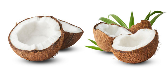 Foto auf Acrylglas Palms Set with Fresh raw coconut with palm leaves isolated on white background.