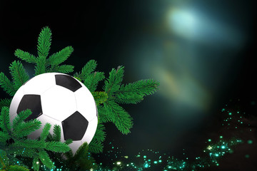 Soccer ball, Sports Christmas Card with festive decorations.