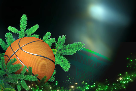 Basketball, Sports Christmas Card with festive decorations.