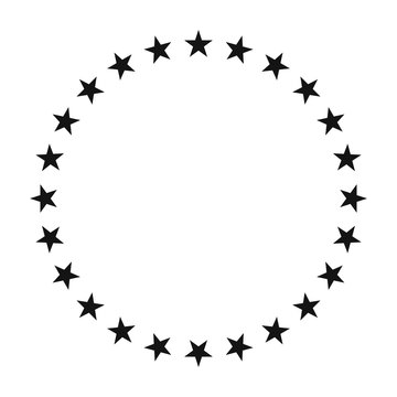 Circle icon surrounded by a star shape. Vector illustration.