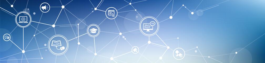 e-learning / blended learning / webinar icon concept – vector illustration
