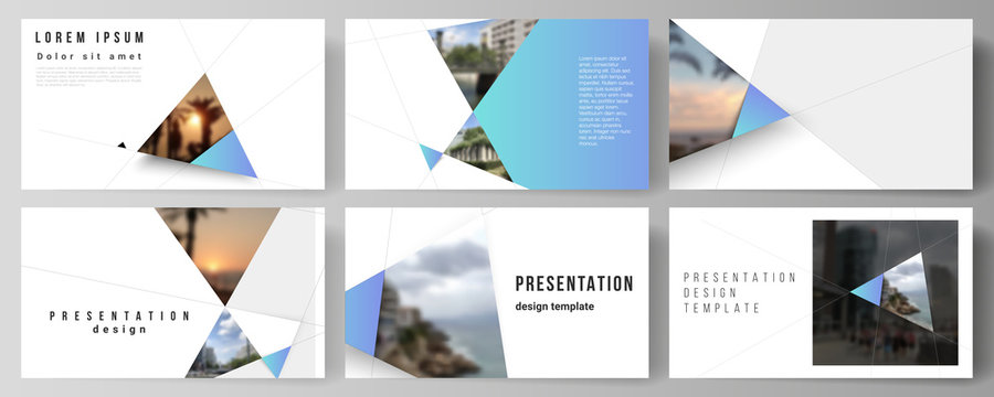 The minimalistic abstract vector layout of the presentation slides design business templates. Creative modern background with blue triangles and triangular shapes. Simple design decoration.