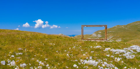 National park of Durmitor in Montenegro, famous place with frame photo in mountain
