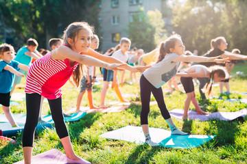 Yoga classes outside on the open air. Kids Yoga, Fototapete
