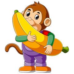 Cartoon monkey holding big banana