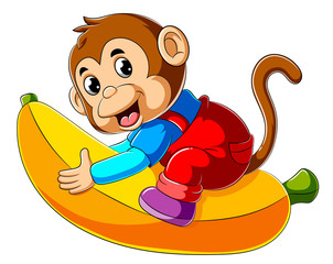 Cartoon monkey riding big banana
