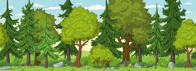 Wall Mural - Seamless cartoon nature background. Vector illustration with separate layers.