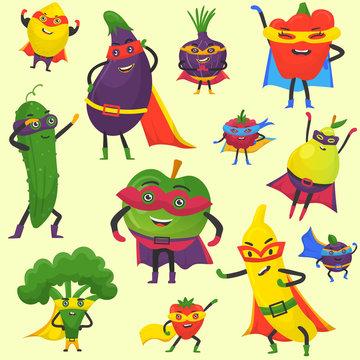 Superhero fruit and vegetables vector pattern. Super banana, eggplant with broccoli, onion, pepper in hero cloak costume. Garden superheroes healthy food. Fruit and vegetables hero characters.