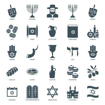 hanukkah icons set, judaism symbols collection