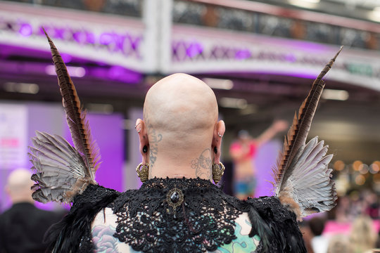 Feathers are seen on the costume of an attendee during DragWorld UK 2019 convention at the Olympia in London
